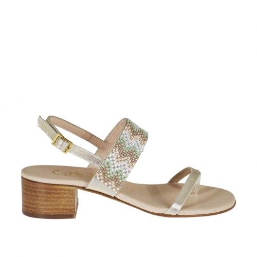 Woman's platinum laminated thong sandal with multicolored rhinestones heel 4 - Available sizes:  31, 32, 34, 42, 43, 44, 46