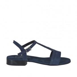 Sandalo da donna con cinturino in camoscio e glitterato blu tacco 2 - Misure disponibili: 32, 42, 44, 46