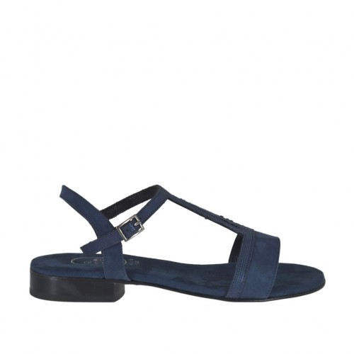 Woman's strap sandal in glittered and blue suede heel 2 - Available sizes:  32, 42, 44, 46
