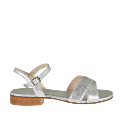 Woman's laminated silver strap sandal heel 2 - Available sizes:  32, 33, 34, 42, 43, 44, 45, 46