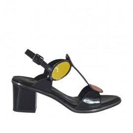 Sandalo da donna in vernice nera, rossa, arancione, bianca e gialla tacco 5 - Misure disponibili: 31, 32, 33, 34, 42, 43, 44, 45
