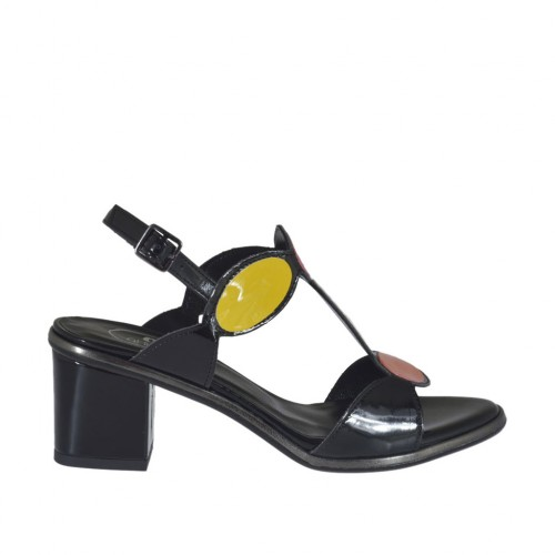 Woman's black, white, yellow, orange and red varnished sandal heel 5 - Available sizes:  32, 34, 42, 43, 44