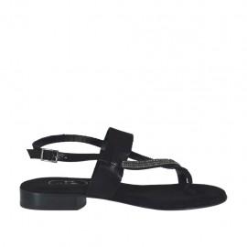 Sandalo infradito glitterato nero con strass da donna tacco 2 - Misure disponibili: 32, 33, 34, 42, 43, 44, 45, 46