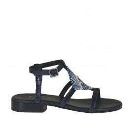 Sandalo da donna stampato blu con cinturino e strass colorati tacco 2 - Misure disponibili: 32, 34, 42, 46