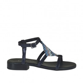 Woman's blue printed sandal with strap and multicolored rhinestones heel 2 - Available sizes:  32, 46