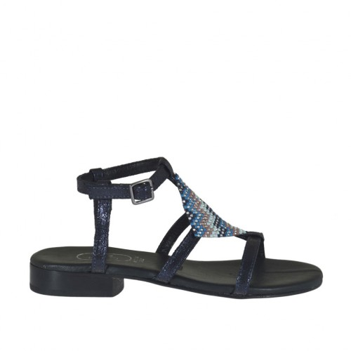 Woman's blue printed sandal with strap and multicolored rhinestones heel 2 - Available sizes:  32, 34, 42, 46