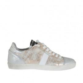Chaussure à lacets pour femmes en cuir blanc et noir et cuir imprimé scintillant argent et cuivre talon compensé 2 - Pointures disponibles:  34