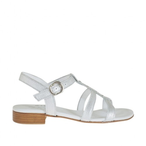 Woman's strap sandal with studs in silver laminated leather heel 2 - Available sizes:  32, 33, 34, 43, 44, 45