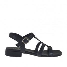 Sandalo da donna con cinturino e borchie in pelle nera tacco 2 - Misure disponibili: 32, 33, 34, 42, 43, 44, 45