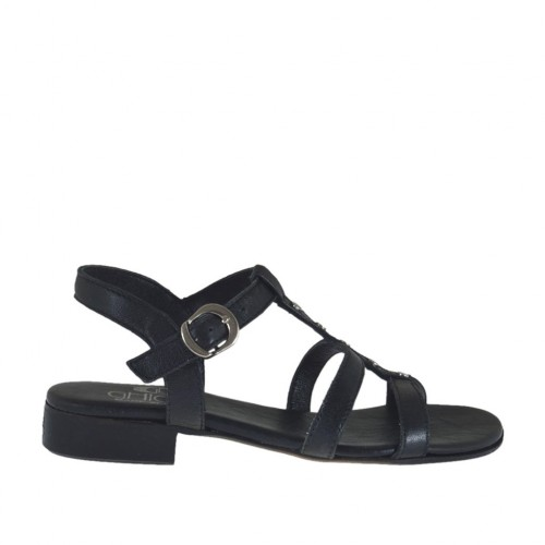 Woman's strap sandal with studs in black leather heel 2 - Available sizes:  32, 33, 34, 42, 43, 44, 45