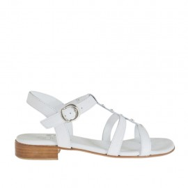 Woman's sandal with strap and studs in white leather heel 2 - Available sizes:  33, 34, 42, 43, 44, 45