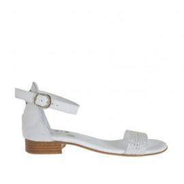 Scarpa aperta da donna in camoscio grigio, pelle e pelle stampata bianca con cinturino e strass tacco 2 - Misure disponibili: 32, 33, 34, 42, 43, 44, 45