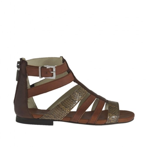 Woman's open shoe with zipper and buckle in tan brown, brown leather and taupe and beige printed leather heel 1 - Available sizes:  33