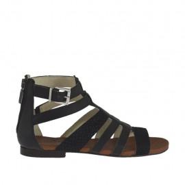 Zapato abierto para mujer con cremallera y hebilla en piel negra y piel nubuk imprimida negra tacon 1 - Tallas disponibles:  33