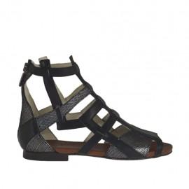 Zapato abierto para mujer con cremallera en piel negra y piel imprimida laminada plateada tacon 1 - Tallas disponibles:  33, 34, 42, 44, 46