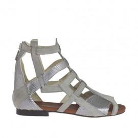 Zapato abierto para mujer con cremallera en piel nubuck gris y piel imprimida laminada plateada tacon 1 - Tallas disponibles:  33, 34, 42, 43, 44, 46