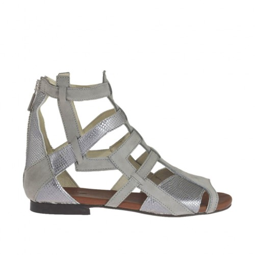 Woman's open shoe with zipper in grey nubuck leather and silver laminated printed leather heel 1 - Available sizes:  33