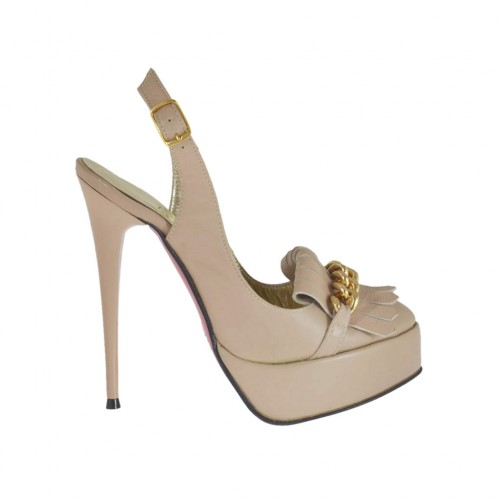 Woman's slingback pump with platform, chain and fringes in powder rose leather heel 12 - Available sizes:  31