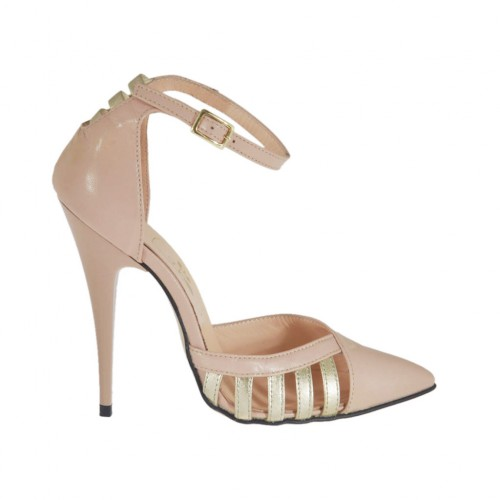 Woman's open shoe with ankle strap in rose leather and platinum laminated leather heel 11 - Available sizes:  42