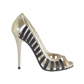 Woman's open shoe in black leather and platinum laminated leather heel 10 - Available sizes:  31, 32, 34, 44, 45, 46, 47