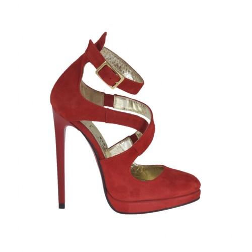 Offener Damenschuh mit Plateau und Riem aus rotem Wildleder Absatz 12 - Verfügbare Größen:  31, 32, 34, 42, 45, 47