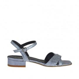 Sandalo stampato laminato azzurro grigio da donna con cinturino tacco 2 - Misure disponibili: 32, 33, 34, 42, 43, 44, 45