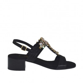 Woman's sandal in black printed suede with multicolored rhinestones heel 4 - Available sizes:  31, 46