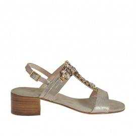 Woman's sandal in taupe printed suede with multicolored rhinestones heel 4 - Available sizes:  31, 46