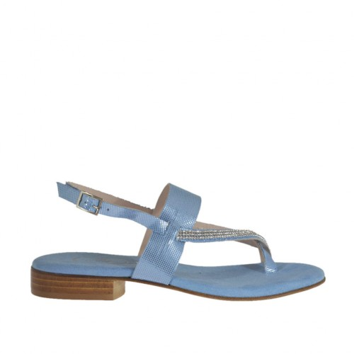 Woman's light blue glittered thong sandal with rhinestones heel 2 - Available sizes:  33, 34, 42, 43, 44, 46