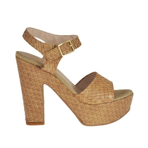 Tan brown braid-printed woman's sandal with strap, platform and heel 11 - Available sizes:  31, 42, 43, 45, 46