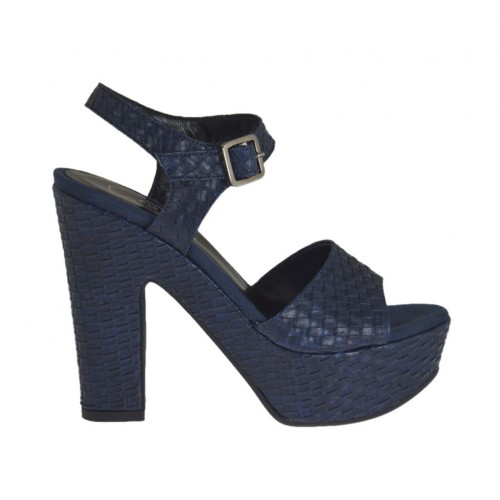 Blue braid-printed woman's sandal with strap, platform and heel 11 - Available sizes:  42, 43