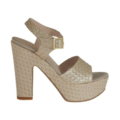 Pearly beige braid-printed woman's sandal with strap, platform and heel 11 - Available sizes:  43, 44