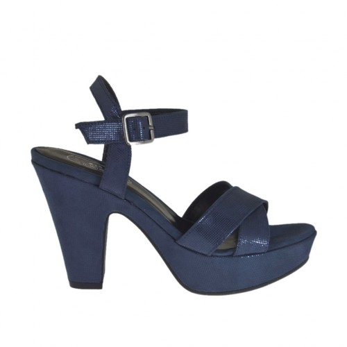 Woman's platform sandal in blue printed suede with strap heel 9 - Available sizes:  31, 42, 43, 44