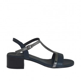 Woman's blue and grey laminated sandal heel 4 - Available sizes:  42, 46