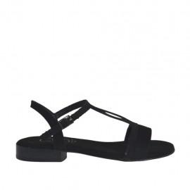 Sandalo da donna con cinturino in camoscio e glitterato nero tacco 2 - Misure disponibili: 32, 33, 34, 42, 43, 44, 45, 46