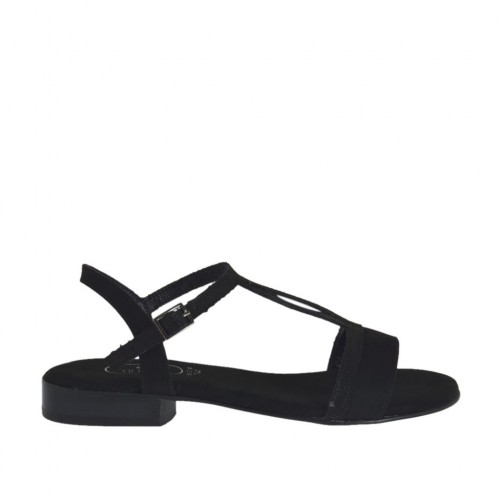 Woman's strap sandal in glittered and black suede heel 2 - Available sizes:  32, 33, 34, 42, 43, 44, 45, 46