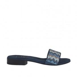 Offene blaue Damenpantolette mit bunten Strasssteinen Absatz 2 - Verfügbare Größen:  32, 33, 34, 43, 44, 45, 46