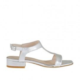 Sandalo laminato argento da donna tacco 2 - Misure disponibili: 32, 42, 44