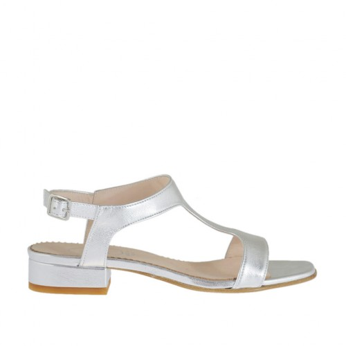 Woman's laminated silver sandal heel 2 - Available sizes:  32