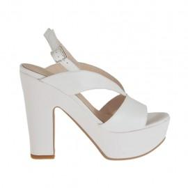 Sandalia blanca para mujer con plataforma y tacon 11 - Tallas disponibles:  43