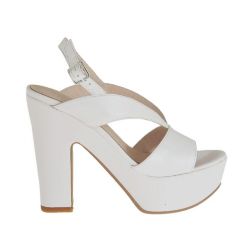 Woman's white sandal with platform and heel 11 - Available sizes:  43