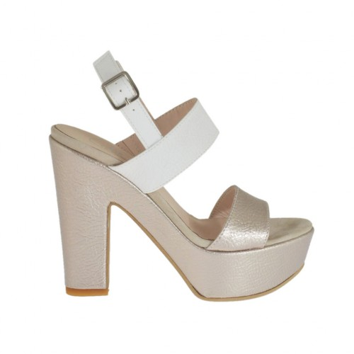 Woman's white and platinum sandal with platform and heel 11 - Available sizes:  31, 32, 33, 34, 42, 43, 46