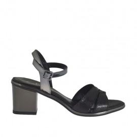 Sandalo da donna nero e laminato canna di fucile con cinturino tacco 5 - Misure disponibili: 31, 32, 33, 34, 42, 43, 44, 45, 46