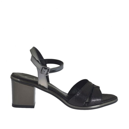 Woman's black and grey laminated sandal heel 5 - Available sizes:  32