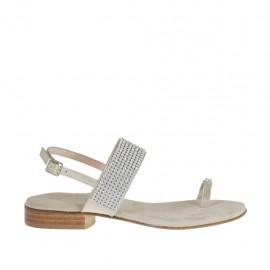 Sandalia infradedo con estrás para mujer color platino laminado tacon 2 - Tallas disponibles:  46