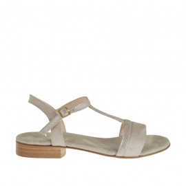 Woman's strap sandal in glittered and taupe suede heel 2 - Available sizes:  32, 42