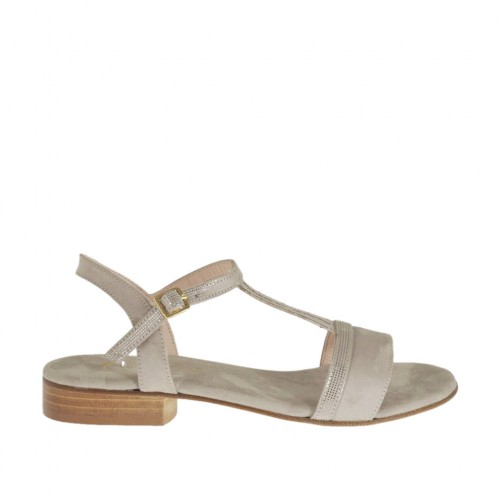Woman's strap sandal in glittered and taupe suede heel 2 - Available sizes:  32