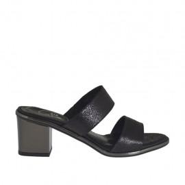 Offene schwarzgedruckte und graue Damenpantolette Absatz 5 - Verfügbare Größen:  32, 42