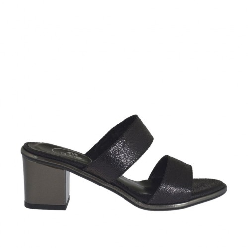 Woman's printed black and grey open mules heel 5 - Available sizes:  32, 42
