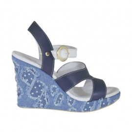 Woman's strap sandal in blue and white leather and jeans fabric with platform and wedge heel 9 - Available sizes:  32, 33, 42, 43, 44, 46